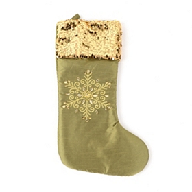 Green Sequin Snowflake Stocking