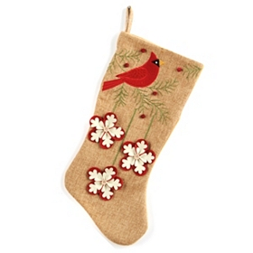 Burlap Cardinal with Snowflakes Christmas Stocking