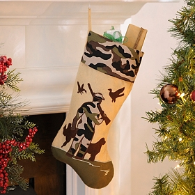 Camouflage Bird Hunting Christmas Stocking