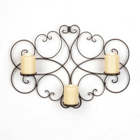 Scrolled Bronze 3-Candle Sconce