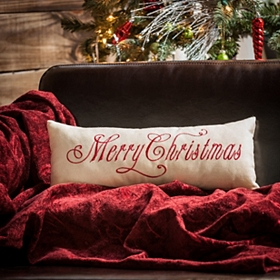 Tan Merry Christmas Accent Pillow