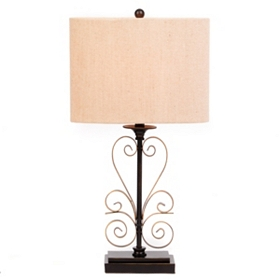 Bronze Scrolled Metal Table Lamp