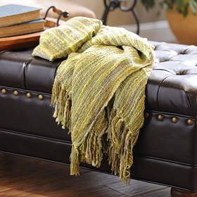 Green Loom Woven Throw Blanket