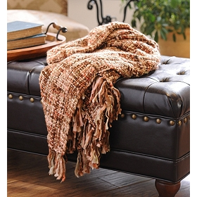 Rust Loom Woven Throw Blanket