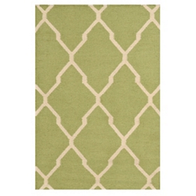 Green Geometric Hand-Woven Accent Rug