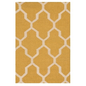 Yellow Geometric Hand-Woven Accent Rug