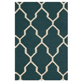 Teal Geometric Hand-Woven Accent Rug