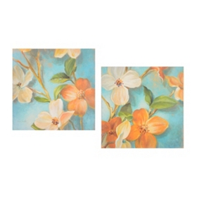 Tropical Blossoms Canvas Art, Set of 2