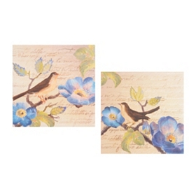 Indigo Blossoms Canvas Art, Set of 2