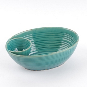 Turquoise Ceramic Chip & Dip Bowl