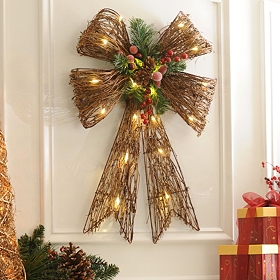 Pre-Lit Red Holly Grapevine Bow