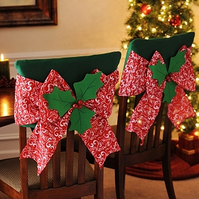 Red Poinsettia Chair Cover, Set of 2