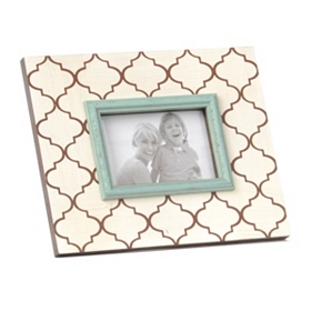 Ivory & Brown Quatrefoil Picture Frame, 4x6