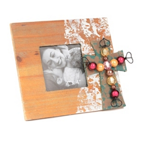 Beaded Cross Wood Picture Frame, 4x4