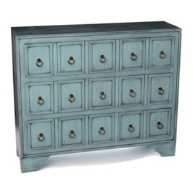 Antique Blue Apothecary 3-Drawer Chest