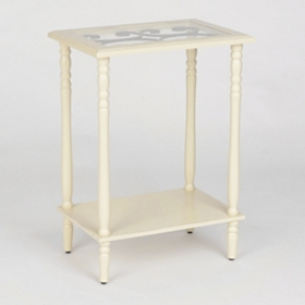Cream Metal Scroll Accent Table