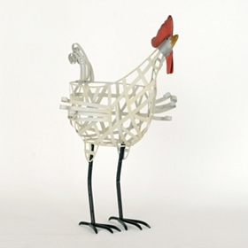 White Metal Rooster Basket