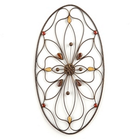 Oval Stone Metal Wall Art