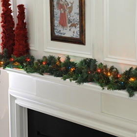 Pine Garland with Multi-Color Lights, 6 ft.