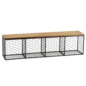Open Wood and Wire Shelf