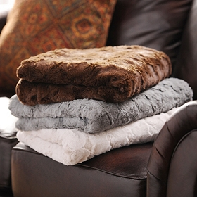 Textured Faux-Fur Throw Blanket