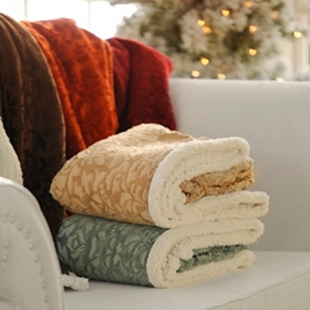Sherpa Embossed Throw Blanket