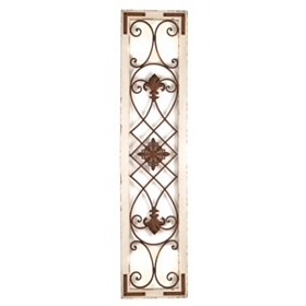 Distressed Cream Wood & Metal Wall Panel
