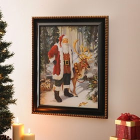 Santa & Forest Friends Framed Art Print