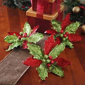 Glitzy Red & Green Clip-On Poinsettias, Set of 3