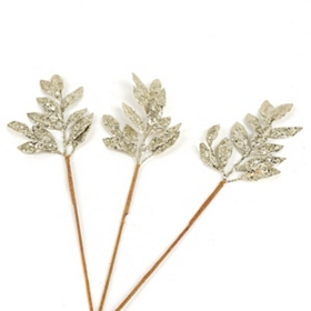 Champagne Glitter Leaf Pick, Set of 3