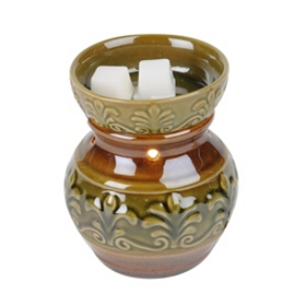 Green & Brown Fleur-de-Lis Wax Warmer