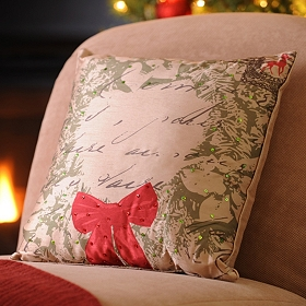 Christmas Wreath & Postcards Accent Pillow