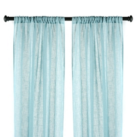 Aqua Textured Woven Curtain Panel, Set of 2