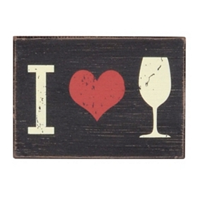 I Heart Wine Wall Plaque