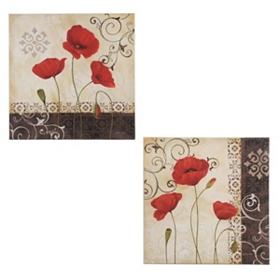 Vintage Red Poppies Canvas Art Prints