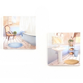 Bathroom Scene Canvas Art Prints