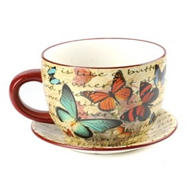 Butterfly Garden Tea Cup Planter