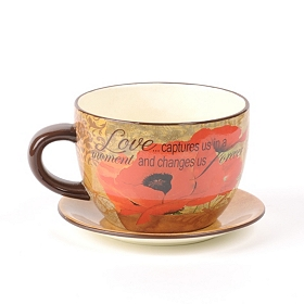 Red Poppy Love Tea Cup Planter
