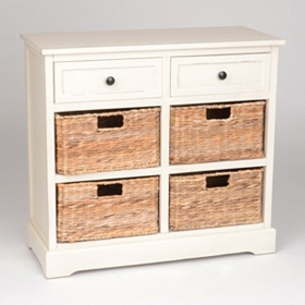 Ivory 6-Drawer Storage Chest with Baskets