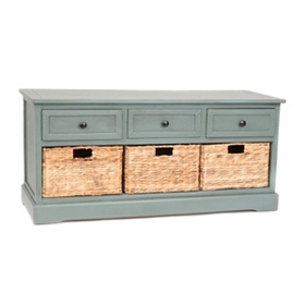 Blue 6-Drawer Storage Bench with Baskets