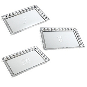 Monogram Mirrored Bling Tray, Assortment 2