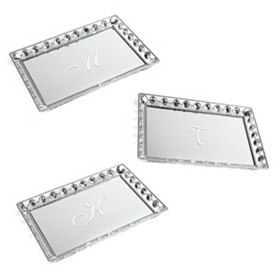Monogram Mirrored Bling Tray, Assortment 3