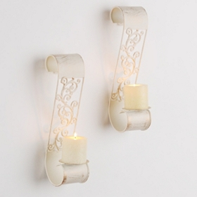 Cream Bodiford Scroll Sconce, Set of 2