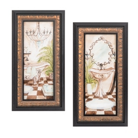 Azul Bath Framed Art Print, Set of 2