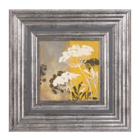 Yellow Floral Silhouette II Framed Art Print