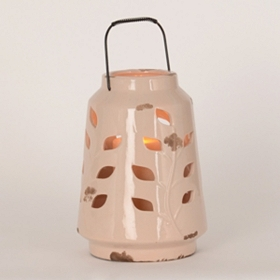 Ivory Ceramic Leaf Cutout Lantern, 10 in.