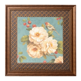 Teal Birds & Blooms II Framed Art Print