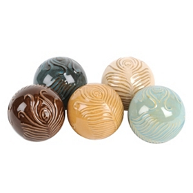 Peacock Plume Ceramic Orbs