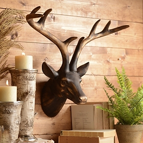Bronze Deer Head Wall Plaque