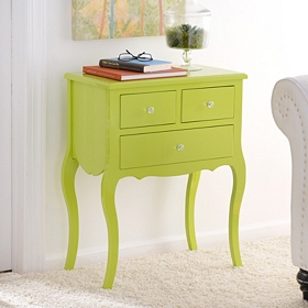 Lime Green Lacquered Bombe 3-Drawer Chest